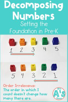 Decomposing numbers is one of the most important math concepts for kiddos to grasp as they get older. And we can do a LOT to set the foundation for them in our pre-k classrooms! Preschool Math, Kindergarten Math, Preschool Ideas, Number Activities, Counting Activities, Counting For Kids, Teaching Numbers, Decomposing Numbers, Early Math