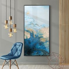 Abstract Canvas Painting Large Wall Art Blue Poster and Print Living Room Decoration Dining Room Wall Art Pictures Home Decor Abstract Wall Art, Canvas Wall Art, Canvas Paintings, Decoration, Art Decor, Decor Ideas, Apartment Wall Art, Grand Art Mural, Images D'art