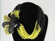 Angela Caputi Multiple Strand Black and Green Crystal Beaded Necklace with Acrylic Leaf Pendant,