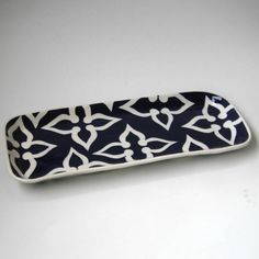 mail/keys etc in foyer -  Ceramic serving tray Navy blue and aquamade to by CeramicaBotanica