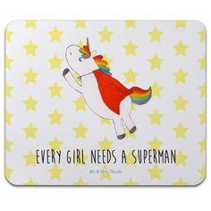 Mauspad Druck Einhorn Superman aus Naturkautschuk  black - Das Original von Mr. & Mrs. Panda.  Ein wunderschönes Mouse Pad der Marke Mr. & Mrs. Panda. Alle Motive werden liebevoll gestaltet und in unserer Manufaktur in Norddeutschland per Hand auf die Mouse Pads aufgebracht.    Über unser Motiv Einhorn Superman  Hol dir das Superman-Einhorn, wenn du auch glaubst, dass jedes Mädel einen Superhelden verdient hat. Wenn im Superman-Kostüm dann auch noch ein Einhorn steckt, ist die Welt gerettet…
