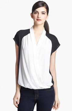 Ro & De Colorblock Faux Wrap Blouse