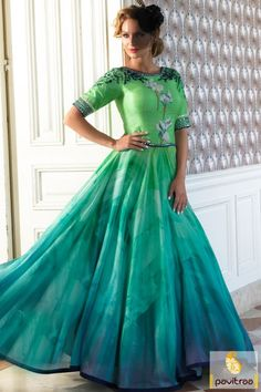 Perfect party wear aqua blue medium sea green color silk nazneen anarkali dress for all the new generation girls and women in lowest price range at Pavitraa.in #salwarsuit, #anarkalidress more: http://www.pavitraa.in/store/anarkali-salwar-suit/