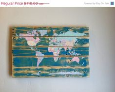Holiday Sale Pallet Art World Map Decoupage Map by AtomRouge