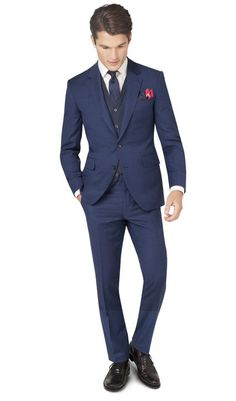 Cut to our best-selling Slim Fit, the blue semi plain Islington suit has a sleek, tailored shape, a closer fit across the chest and slightly narrower leg trouser than our Regular Fit. The premium quality Super 110's wool fabric is woven in a semi plain basket weave which gives a subtle textured appearance. The two-button jacket hangs beautifully and has a half canvas construction that moulds to your body shape the more you wear it. A coordinating pale blue lining will add an extra dash of…