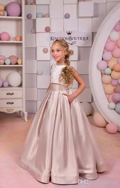 Ivory Cappuccino Lace Satin Flower Girl Dress Two Piece Party Holiday Birthday Bridesmaid Flower Girl Blush Toddlers First Commuion Dresses Toddlers Ball Gowns Communion Dresses Flower Girls Dresses for Weddings Online with $154.28/Piece on Faisata's Store | DHgate.com