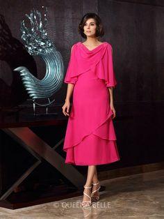 A-Line/Princess Sleeveless Scoop Chiffon Tea-Length Mother of the Bride Dresses
