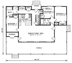 Houseplans.com Country Main Floor Plan Plan #66-298