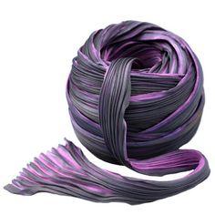 Luscious hand dyed Silk Shibori ribbon.  Color Pink Storm.  $15.75 per yard.