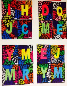 Initiales.MS Name Practice, Name Crafts, Alphabet Activities, Art Club, Elementary Art, Christmas Art, Etiquette, Phonics, Tapas