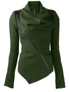 Cowl Neck Long Sleeve Zippered Leather Trim Jacket