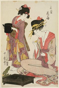 Kitagawa Utamaro: Hanaôgi of the Ôgiya, from an untitled series of courtesans arranging flowers - Museum of Fine Arts