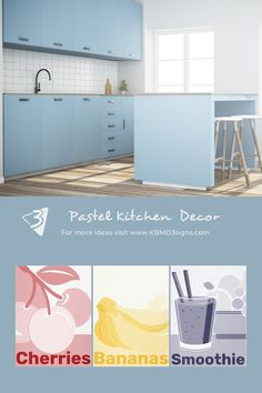 #kitchenwalldecor helps to set accents. The #pink cherries, yellow banana print, and blue smoothie tumbler print appeal to the light #bluekitchen . Please contact KBM D3signs for custom designs.