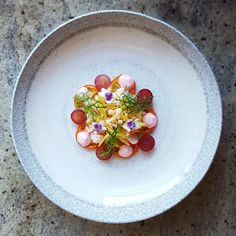 Crab Meat, Green Plum, Radish, Heirloom Tomato, Grape, Pickled Ginger Mayonnaise and Mizuna