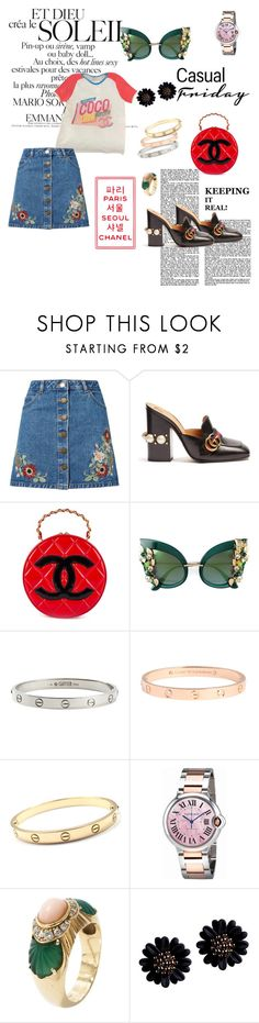 """casual friday"" by cristhyne-torres on Polyvore featuring moda, Chanel, Miss Selfridge, Gucci, Dolce&Gabbana e Cartier"