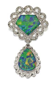 Black opal and old European/rose cut diamond brooch by René Boivin,ᅠ Circa 1915