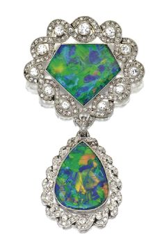 Black opal and old European/rose cut diamond brooch by René Boivin,ᅠ Circa 1915