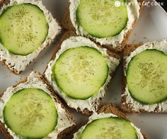 Cucumber Sandwiches...use reduced fat cream cheese and consider serving on cold, lightly toasted whole wheat bread.