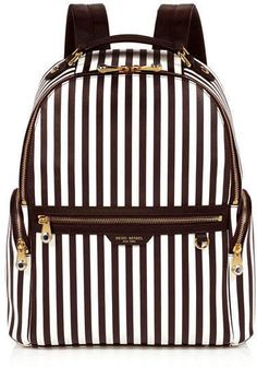 56e00b8b91f West 57th Centennial Stripe Travel Backpack black and white with gold  zippers Striped Backpack, Striped