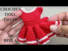 How to Crochet a Doll Dress for Bella. Part 2 A Beginner Friendly Tutorial Crochet this lovely little dress with your own personal styling & create your own little cuties. Crochet Dolls Free Patterns, Doll Dress Patterns, Crochet Doll Pattern, Crochet Doll Dress, Crochet Barbie Clothes, Crochet Doll Tutorial, Kawaii Crochet, Little Doll, Crochet Videos