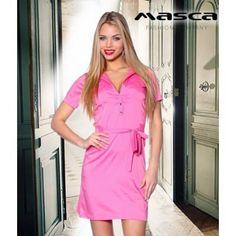 Masca Fashion ékszerpatentos, rugalmas, selymes fényű puplin ruha, derekán kötővel Dresses For Work, Fashion, Moda, Fashion Styles, Fashion Illustrations