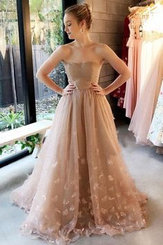 Strapless Light Brown Tulle Appliques Long Elegant Prom Dress A-Line Prom Dresses Sleeveless Prom Dresses Appliques Prom Dresses Prom Dress Prom Dresses 2020 Plus Wedding Dresses, Elegant Prom Dresses, Beautiful Dresses, Long Dresses, Evening Dresses, Ladies Dresses, Party Dresses, Ivory Dresses, Ladies Shoes