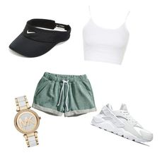 """""""chill lil day"""" by nastyytherapper ❤ liked on Polyvore featuring H&M, Topshop, NIKE, Michael Kors, women's clothing, women, female, woman, misses and juniors"""