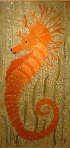 Seahorse     #mosaic #art-won't this look nice in a bathroom down there in Florida?
