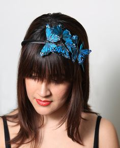 Turquoise Butterfly Headband - woodland, fairy tale, bride, forest, teal
