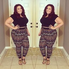"""""""Shirt  @forever21  Pants  Ross brand:eye candy ... #curvescurlsandclothes…"""