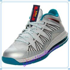 online retailer 67233 1f18b Nike Air Max Lebron X Low Metallic Platinum Black Tropical Teal 579765 002  Lebron James,