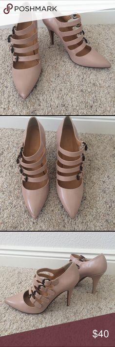J.Crew buckle strap heels - genuine leather J.Crew buckle strap heels. Beautiful nude color leather. Four adjustable buckled straps on each shoe. 4 inch heel. Some light scuffing in both shoes and on toe of right shoe (shown in pictures). Otherwise these are in very good condition! J. Crew Shoes Heels