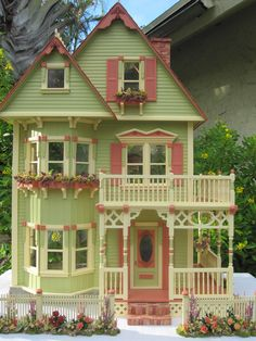 This Gothic Victorian inspired dollhouse began as a Tennyson. I liked the basic footprint for the house however, felt it needed major des...