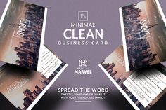 Minimal Clean Business Card by Marvel on @creativemarket