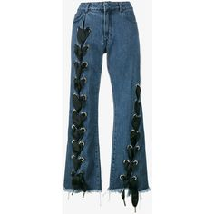Marques'Almeida Lace-Up Wide-Leg Jeans (6.713.225 IDR) ❤ liked on Polyvore featuring jeans, pants, trousers, lace up jeans, wide leg blue jeans, blue jeans and wide leg jeans