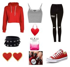 """Love Red"" by dreamwavecatcher1 ❤ liked on Polyvore featuring Topshop, Converse, Kate Spade, Jimmy Choo and Valentino"