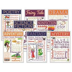 Homophones Anchor Chart Literary Genres Chatter Charts Set Of 8 Teacher Supplies, Teacher Tools, School Supplies, Genre Bulletin Boards, Literary Genre, Teacher Created Resources, Art Worksheets, Classroom Posters, Artists
