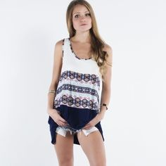 """""""Carnival"""" Tribal Print Tunic Top Tribal print, navy and white sleeveless tunic top. Get summer ready with this lovely piece. Brand new without tags. Runs true to size. 95% rayon, 5% spandex. Bare Anthology Tops Tunics"""