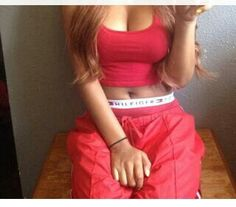 All red outfit with tommy hilfiger boxers