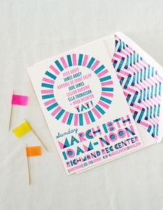 invite from a neon birthday party!