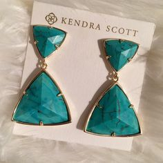 """Kendra Scott Maury Earrings. Price Firm. Kendra Scott Via Maya Collection, just a touch of turquoise to complete your look, the Maury earrings bring modern flair to your favorite classic stone.  14K Gold Plated Over Brass Size: 2""""L x 1.25""""W on post Material: turquoise magnesite Kendra Scott Jewelry Earrings"""