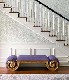 Purple bench.