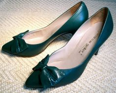 Shoes ANDREW GELLER high heel pumps - forest green leather vintage made in ITALY - size 8