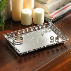Monogram Mirrored Bling Tray - for the bath - what about a small mirrored tray, with lotion, soap, candle, etc?