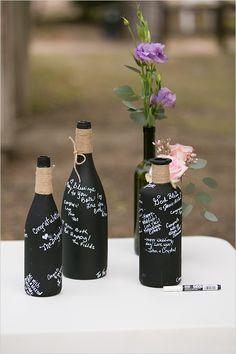 chalkboard bottles guestbook @weddingchicks