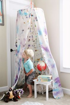 Build your own fort! // Tie Dye Fort Kit from the We Made It by Jennifer Garner kids craft line at Joann.com or Jo-Ann Fabric and Craft Stores