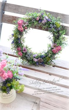 No directions though. Pink Wreath, Hydrangea Wreath, Floral Wreath, Wreaths And Garlands, Holiday Wreaths, Shabby Flowers, Dried Flowers, Flower Arrangements Simple, Table Flowers