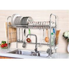 Removable Side mounting mug stand and cutlery holder;. Ideal for any home kitchen or office cup organizing;. Material: Stainless steel. Hanging bar also included for wall mounting;. 304 stainless steel, not rusting, corrosion resistance;.   eBay!