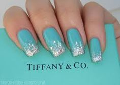 Teal nails with sliver glitter