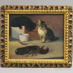 Parker S. Perkins (American, 1862-1942) Two Cats and a Lobster. | Sale Number 2646M, Lot Number 87 | Skinner Auctioneers. Sold for $1,560.